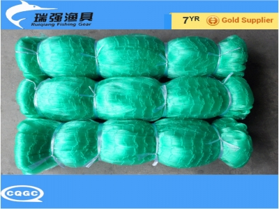Nylon monofilament fishing net, Korean net, crab net, depthway stretched, green, plywood hanging edge
